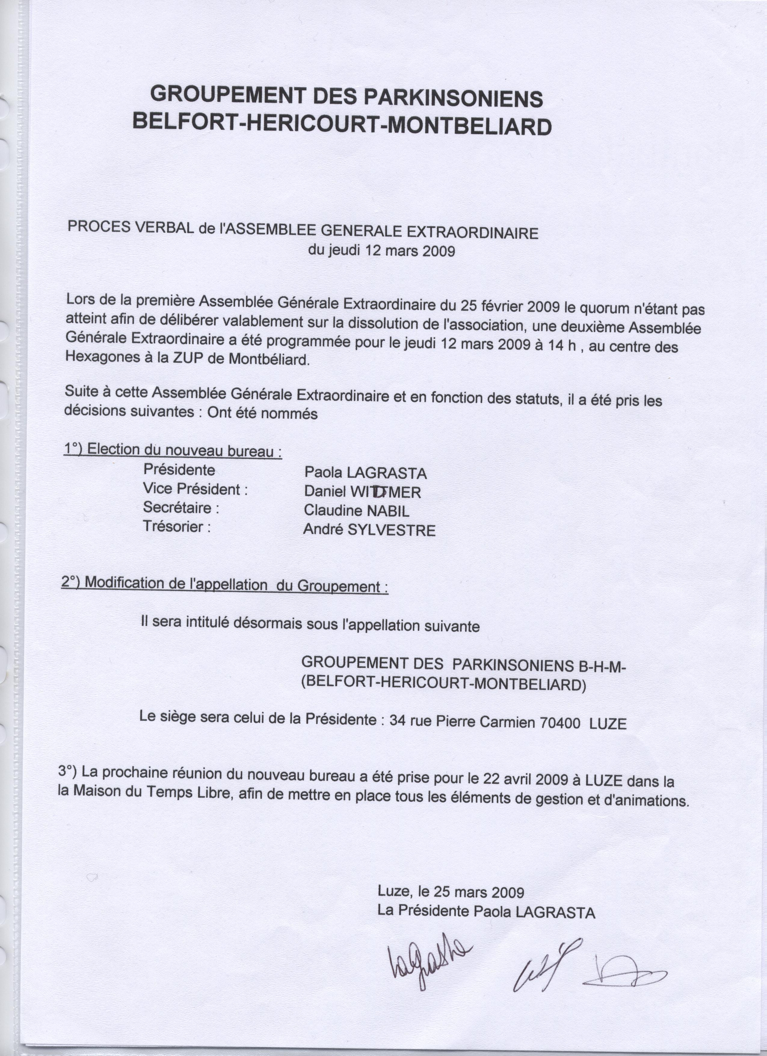 PV / AG du 12/03/2009