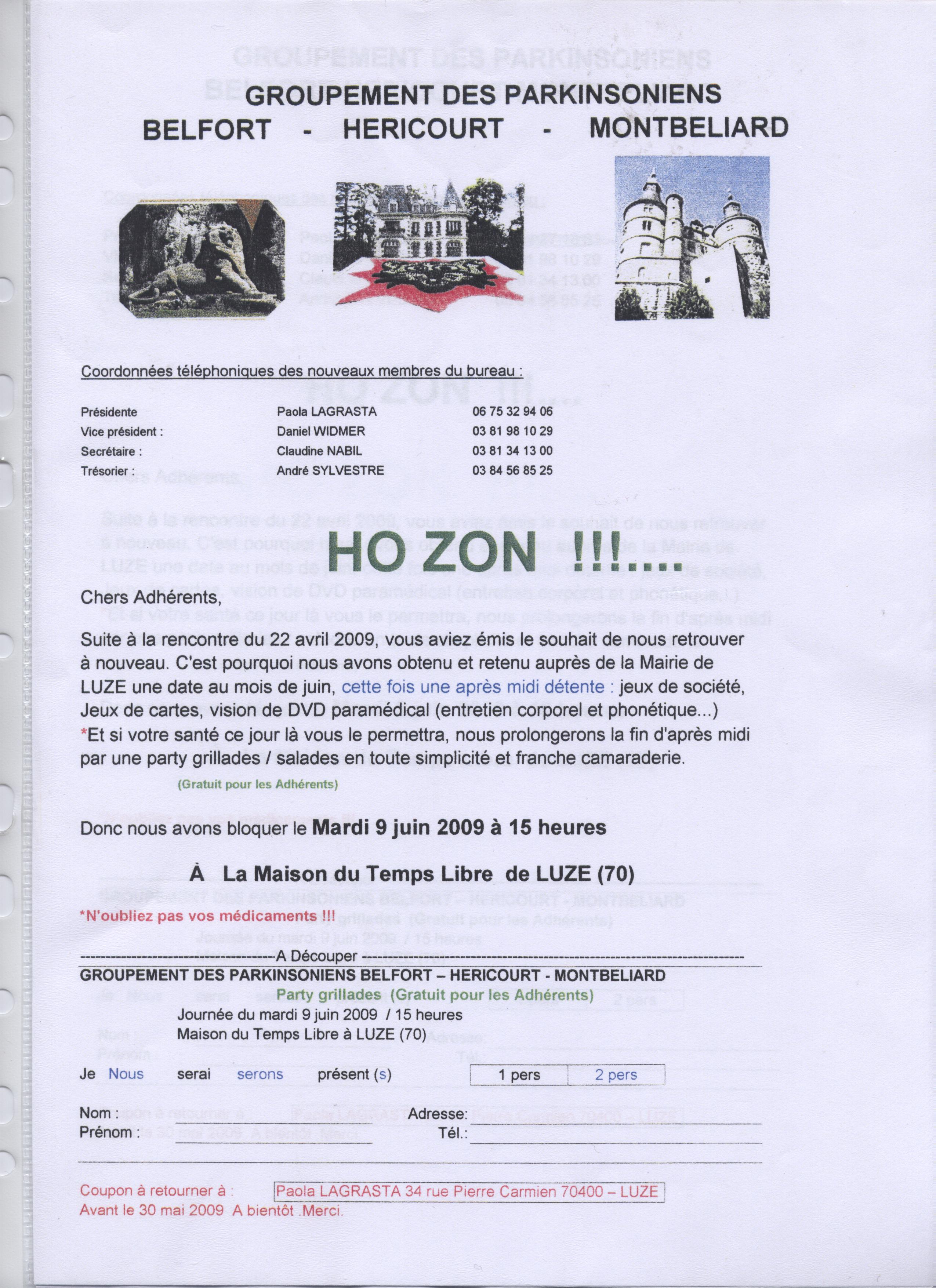 convocation réunion du 9juin 2009